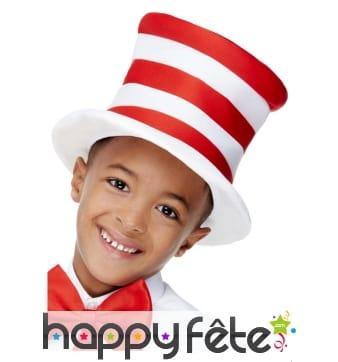 Haut de forme ligné blanc et rouge pour enfant