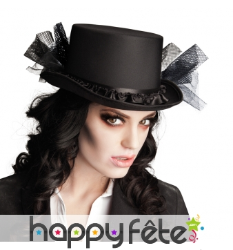 Haut de forme noir de femme vampire