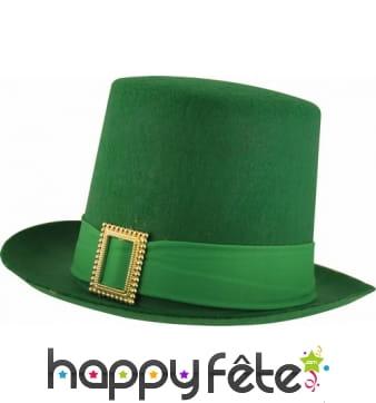 Haut de forme Saint Patrick rigide vert uni