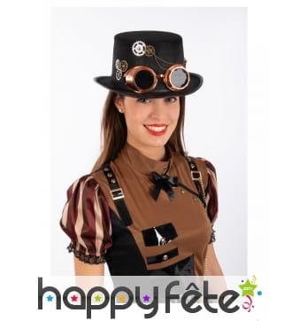 Haut de forme steampunk noir avec lunettes, adulte