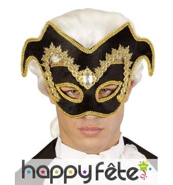 Haut masque vénitien noir arabesques dorés