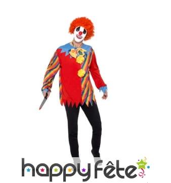 Haut, noeud papillon et masque de clown sinistre