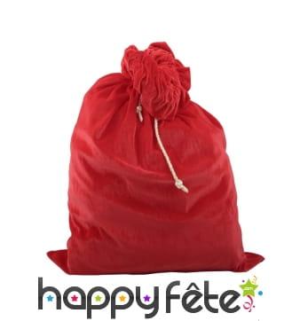 Hotte rouge de père Noël en tissu