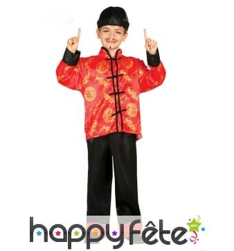 Hanfu rouge et noir pour enfant