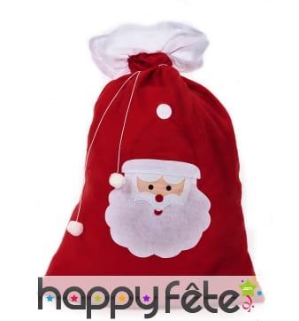 Hotte rouge imprimé tête du père Noël