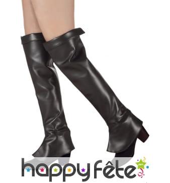 Hautes sur-bottes noires en simili cuir