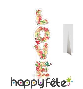 Inscription Love fleurie en carton