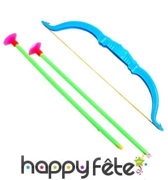 Jouet arc en plastique de 25cm avec flèches