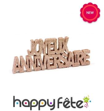 Joyeux anniversaire rose or pailleté de 19cm