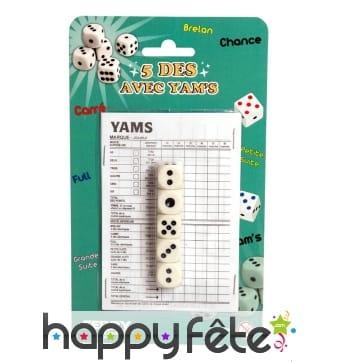 Jeu de 5 dés avec yams