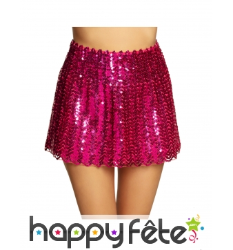 Jupe disco rose à sequins pour adulte