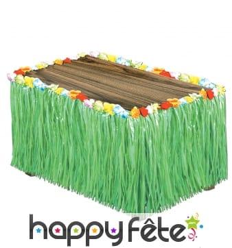 Jupe de table Hawaïenne franges vertes