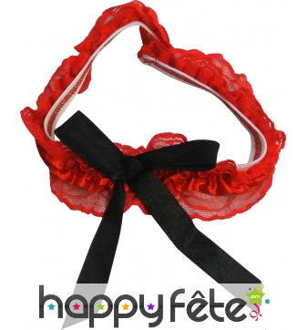 Jarretiere en dentelle rouge avec noeud noir