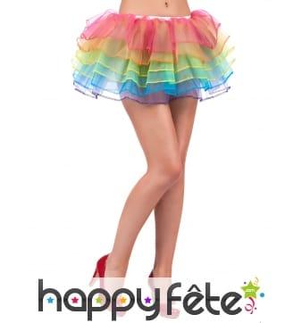 Jupon en tulle bouffant multicolore pour femme