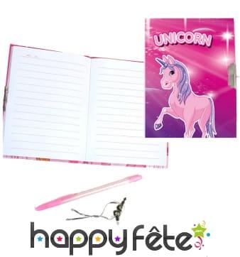 Journal intime licorne rose