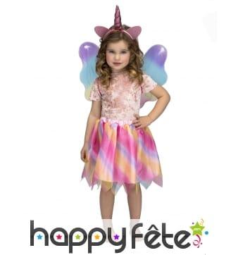 Jupe licorne multicolore avec ailes et oreilles