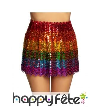 Jupe multicolore à sequins pour femme