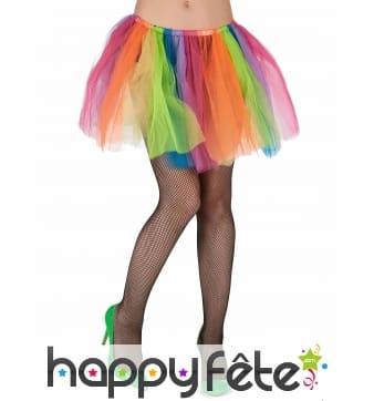 Jupon multicolore en pans de tulles pour femme