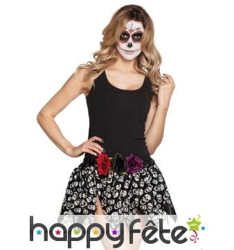 Jupe noire avec squelettes Dia de los muertos