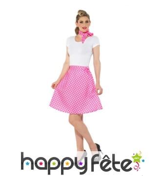 Jupe rose à pois années 50 avec foulard