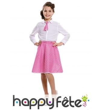 Jupe rose à pois blancs années 50 pour fille