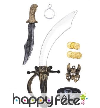 Kit accessoires de pirate en plastique pour enfant