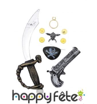 Kit accessoires et armes de pirate pour enfant