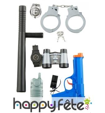 Kit accessoires plastique de Policier pour enfant