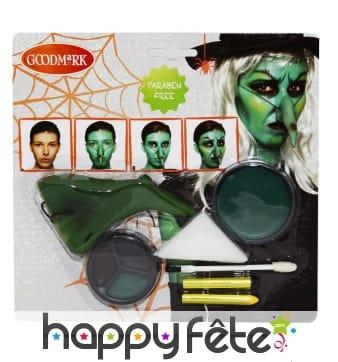 Kit costmétique maquillage de sorcière verte