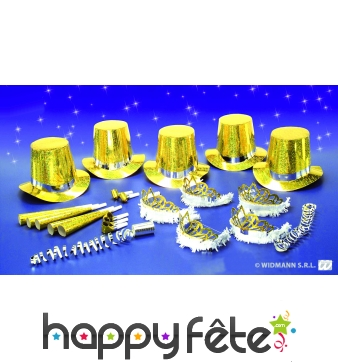Kit de cotillons hologramme doré