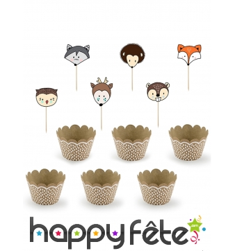 Kit de décorations pour cupcake animaux de forêt