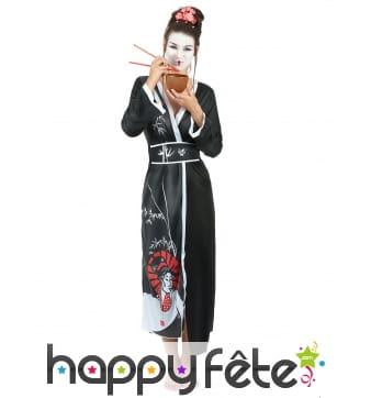 Kimono de geisha noir pour femme