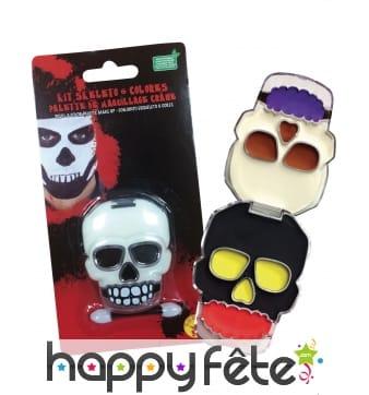Kit de maquillage crâne, tête de mort