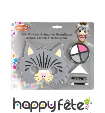 Kit de maquillage de chat avec masque, enfant