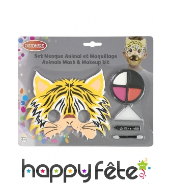 Kit de maquillage de tigre avec masque, enfant