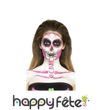 Kit de maquillage squelette néon, réagit aux UV