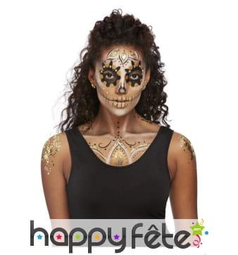 Kit de maquillage visage Day of the dead doré
