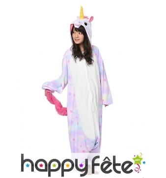 Kigurumi licorne coloris pastels pour adulte
