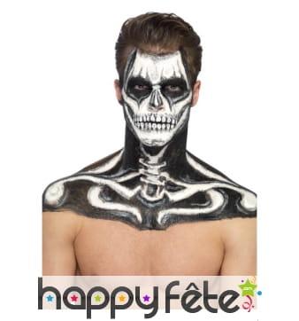 Kit maquillage de squelette noir et blanc au latex