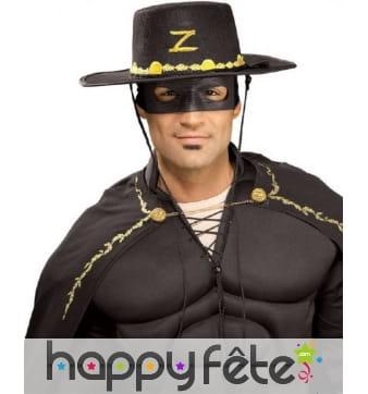 Kit masque et chapeau de Zorro pour homme