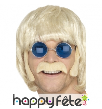 Kit moustache et rouflaquettes de hippie blond