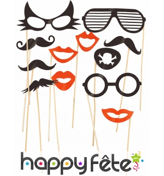 Kit photobooth lunettes et moustaches 12 pièces