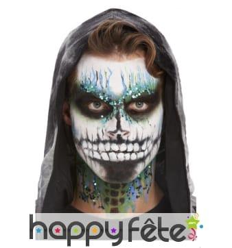 Kit pour maquillage visage de squelette pailleté