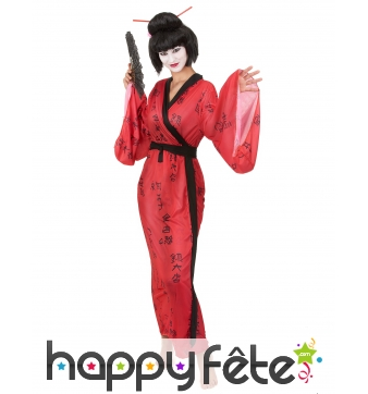 Kimono rouge de geisha imprimés calligraphie