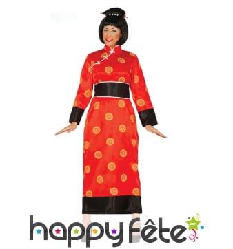 Kimono rouge et noir pour femme