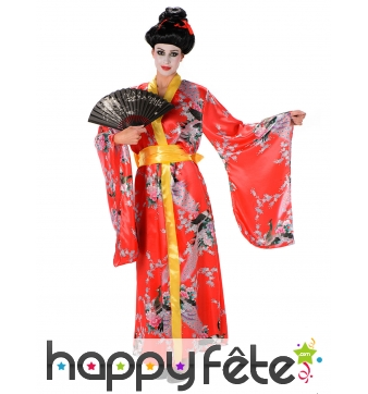 Kimono rouge motifs fleuris pour femme