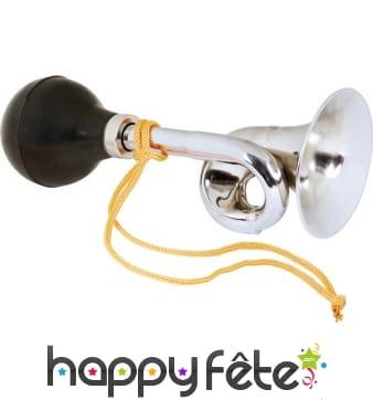 Klaxon trompette de clown argentée