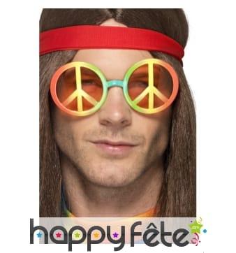 Lunettes avec symbole hippie, multicouleurs