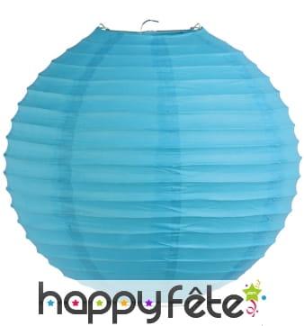 Lanterne boule bleu clair en papier de 30cm