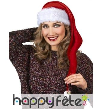 Long bonnet de Noël rouge effet velours